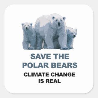 Adesivo Quadrado Salvar os ursos polares
