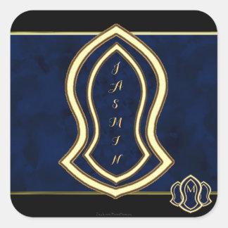 Adesivo Quadrado Sandália do mármore & do ouro (azuis) do profeta