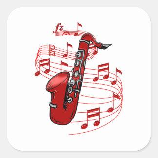 Adesivo Quadrado Saxofone vermelho com notas da música