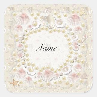 Adesivo Quadrado Seashells e pérolas personalizados