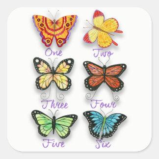 Adesivo Quadrado Seis borboletas artísticas coloridas com palavras