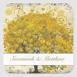 Adesivo Quadrado Selo amarelo do casamento da árvore da folha do