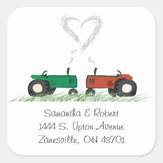 Adesivo Quadrado Selo do envelope do casamento da fazenda