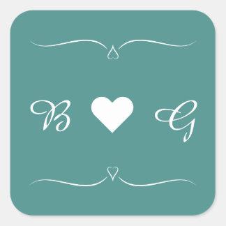 Adesivo Quadrado Selo elegante da letra do monograma do coração do