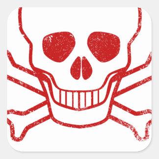 Adesivo Quadrado Selo vermelho da tinta do veneno