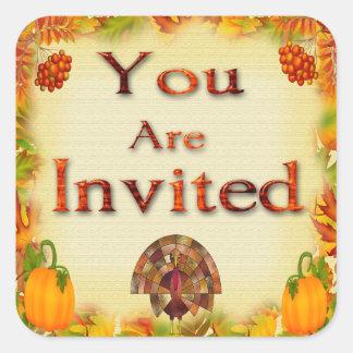 Adesivo Quadrado Selos do envelope do convite da acção de graças