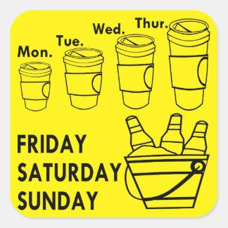 Adesivo Quadrado Semana do café & fim de semana da cerveja