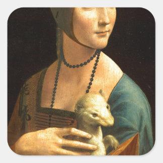 Adesivo Quadrado Senhora da pintura de Da Vinci original com um