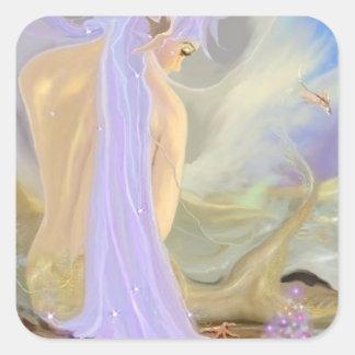Adesivo Quadrado Sereia de cabelo de néon