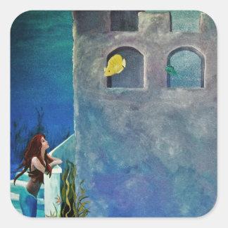 Adesivo Quadrado Sereia e peixes no castelo submarino