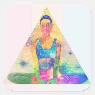 Adesivo Quadrado Série do papel de embrulho da menina da ioga de