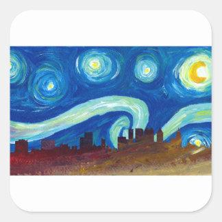 Adesivo Quadrado Silhueta da skyline de Atlanta com noite estrelado