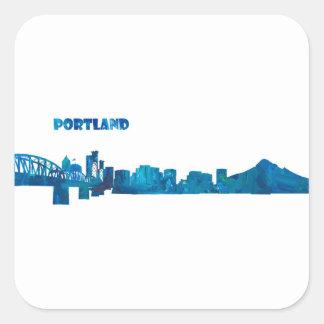Adesivo Quadrado Silhueta da skyline de Portland