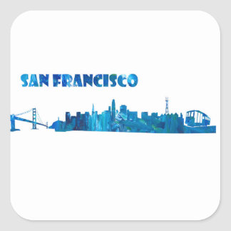 Adesivo Quadrado Silhueta da skyline de San Francisco