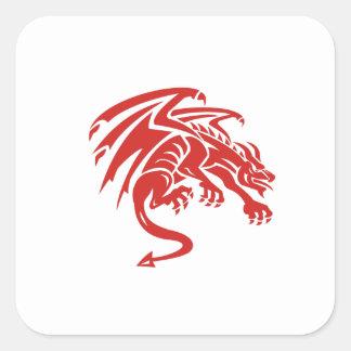 Adesivo Quadrado Silhueta de agachamento da gárgula do dragão retro