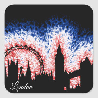 Adesivo Quadrado Silhueta de Londres Inglaterra