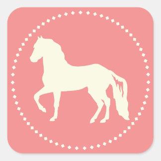 Adesivo Quadrado Silhueta do cavalo de Paso Fino