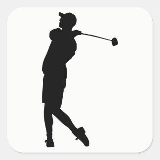Adesivo Quadrado Silhueta do jogador de golfe