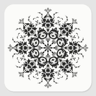 Adesivo Quadrado Silhueta floral