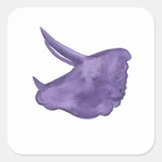 Adesivo Quadrado Silhueta roxa do Triceratops