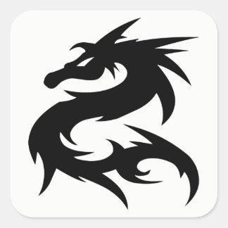 Adesivo Quadrado Silhueta tribal do dragão
