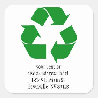 Adesivo Quadrado Símbolo do reciclagem - verde