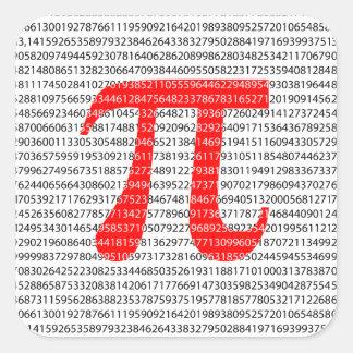 Adesivo Quadrado Símbolo matemático do dia vermelho original do pi