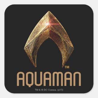 Adesivo Quadrado Símbolo metálico da liga de justiça | Aquaman