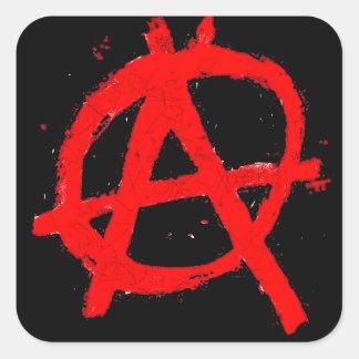 Adesivo Quadrado Símbolo vermelho sujo da anarquia