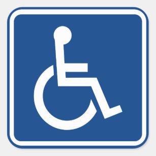 Adesivo Quadrado Sinal acessível da cadeira de rodas deficiente