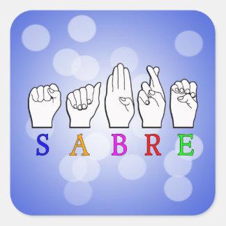 ADESIVO QUADRADO SINAL CONHECIDO SURDO DO SABRE FINGERSPELLED ASL