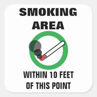Adesivo Quadrado Sinal da área de fumo