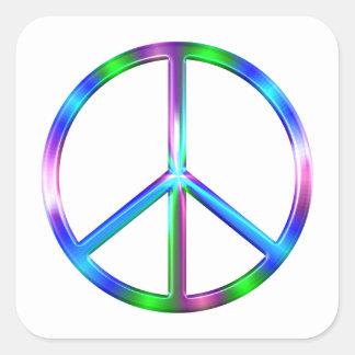 Adesivo Quadrado Sinal de paz colorido brilhante