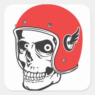 Adesivo Quadrado ☞ Skullracer motorcycle helmet