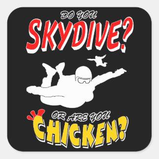 Adesivo Quadrado Skydive ou galinha? (branco)