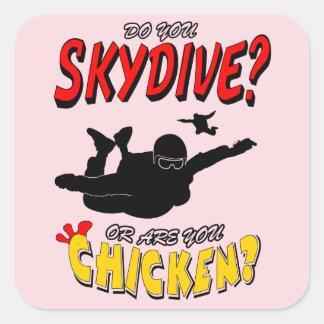 Adesivo Quadrado Skydive ou galinha? (preto)