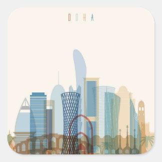 Adesivo Quadrado Skyline da cidade de Doha, Qatar |