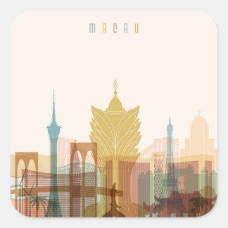 Adesivo Quadrado Skyline da cidade de Macau, China |