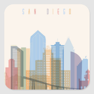 Adesivo Quadrado Skyline da cidade de San Diego