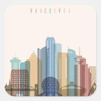 Adesivo Quadrado Skyline da cidade de Vancôver, Canadá |