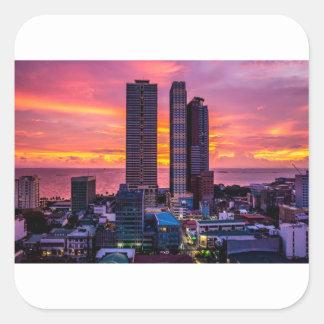 Adesivo Quadrado Skyline de Manila Filipinas