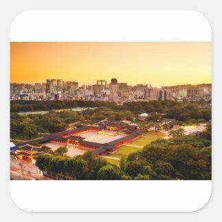 Adesivo Quadrado Skyline de Seoul Coreia do Sul