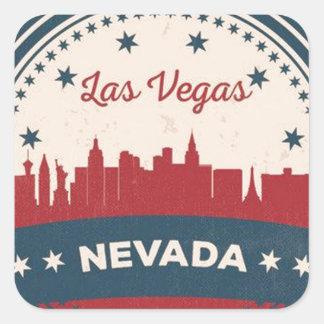 Adesivo Quadrado Skyline retro de Las Vegas