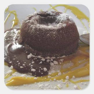 Adesivo Quadrado Sobremesa morna do bolo da lava do fundente do