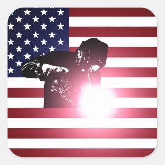 Adesivo Quadrado Soldador e bandeira americana