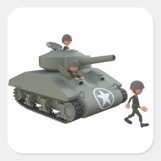 Adesivo Quadrado Soldados dos desenhos animados em um tanque