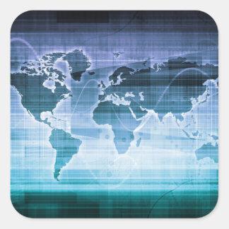 Adesivo Quadrado Soluções globais da tecnologia no Internet