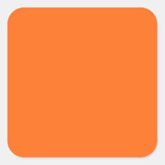 Adesivo Quadrado Somente cor sólida simples alaranjada brilhante