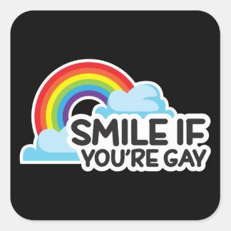Adesivo Quadrado Sorria se você é orgulho alegre do arco-íris LGBT