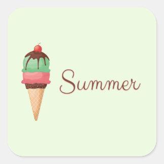 Adesivo Quadrado Sorvete do verão